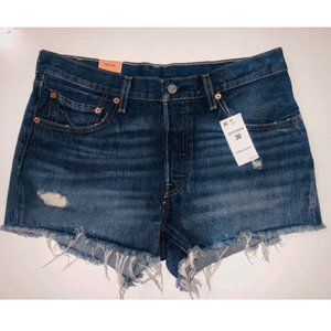 LEVI'S 501 DENIM SILVERLAKE FRAYED JEAN SHORTS